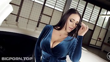 Busty woman with long, dark hair, Angela White likes to play with her perfectly shaved pussy