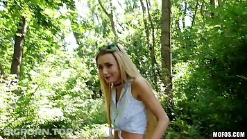 Fresh blonde teen, Empera is having a quickie in the forrest, in the middle of the day