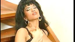 Julia Chanel is wearing black lingerie while pampering her lover and getting cum on her lips