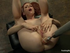 Penny Pax is about to cum while a fucking machine is drilling her soaking wet pussy