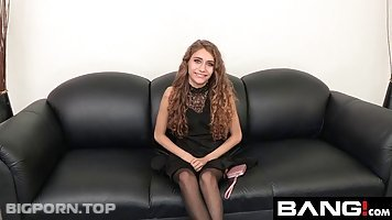Fresh babe with curly hair, Rebel Lynn went to a porn movie audition completely ready