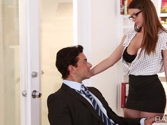 Fresh secretary in white blouse and black skirt, Brooklyn Chase knows what her boss needs